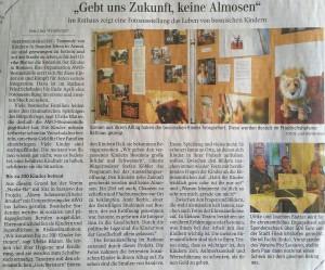 Pressemitteilung Schwäbische Zeitung Fotoausstellungseröffnung Gebt uns Zukunft- keine Almosen